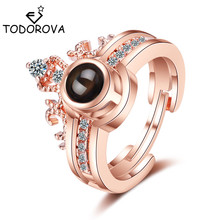 Todorova 100 Languages I Love You Projection Rings for Women Men Jewelry Romantic Memory Crown Couple Wedding