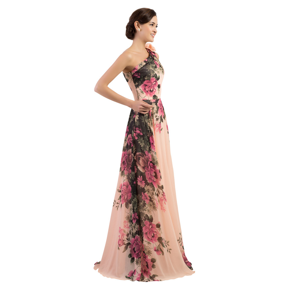 One Shoulder Long Printed Flower Evening Bridesmaid Dress