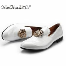New Fashion Stone Finish Leather Men Loafers And Gold Constellation Buckle Men Shoes Birthday Party And Wedding Men's Flats new gold toe and gold crystal handmade men loafers men fashion leather slippers men party and wedding dress shoes men s flats
