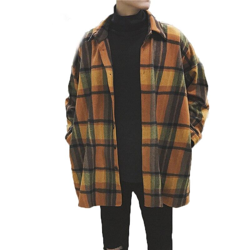 Oversized Flannel Shirts Men Plaid Vintage Streetwear Hip Hop Loose Casual Long Sleeve Autumn Winter Brand Korean Shirts Men Рубашка