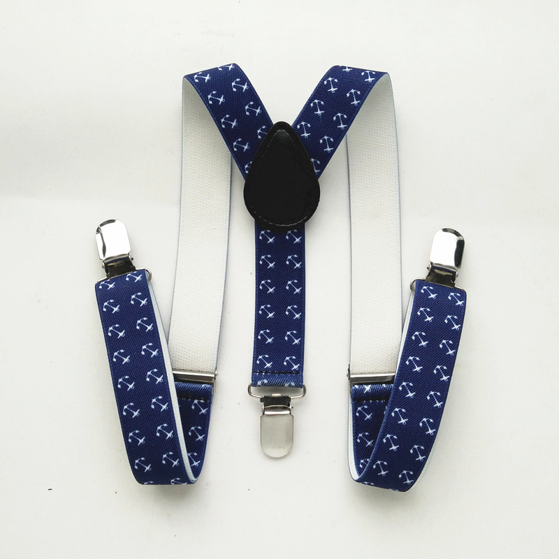 Navy Color Anchor Printing Men's Suspenders Y-back Braces For Children And Adult 4 Size BD021