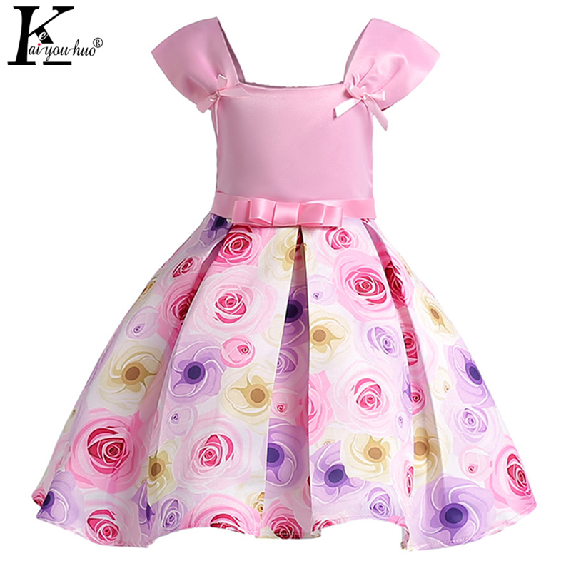 2018 New Summer Girls Dresses For Kids Costume Vestidos Toddler Dress Bow Princess Party Dress Children Clothing Wedding Dresses 2016 new girls dress cotton summer style sleeveless children dress party dresses for 2 7 years kids toddler vestidos kf509