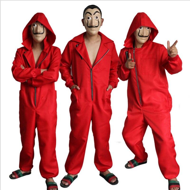 Salvador Dali Filme Traje Dinheiro Assalto A Casa de La Casa de Papel de Papel Cosplay Halloween Party Costumes com o Rosto máscara
