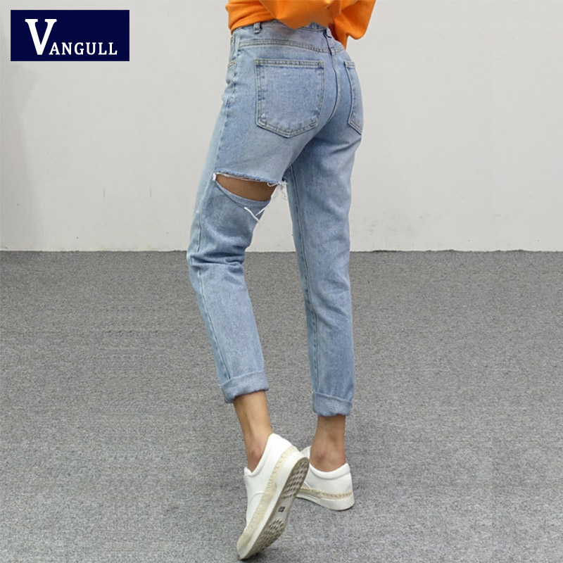 Vangull Denim Pants Women High Waist Jeans 2019 New Fashion Hole Pant Spring Ripped Trousers Casual Elegant Female Mid Calf Jean