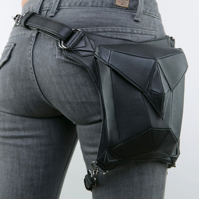 High Quality Pu Leather New Uni Waist Leg Bag Drop Belt Hip Motorcycle Ride