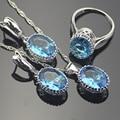 Charme Oval Bule Criado Sapphire Mulheres Conjuntos de Jóias de Prata Esterlina 925 Brincos de Prata/Pendente/Pendente da Colar/Anéis Livre Caixa de presente