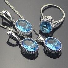 Encanto Oval Bule Creado Sapphire Mujeres Sistemas de la Joyería de Plata de Ley 925 Pendientes de Plata/Colgante/Collar/Anillos de Envío Caja de regalo