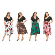 Women Plus Size Dress Elegant Ladies V-Neck Party Floral Print Patchwork Short Sleeve A-Line Midi