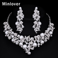 Minlover Wedding Accessories Simulated Pearl Long Earrings and Necklace for Women Silver Plated Crystal Jewelry Sets MTL471