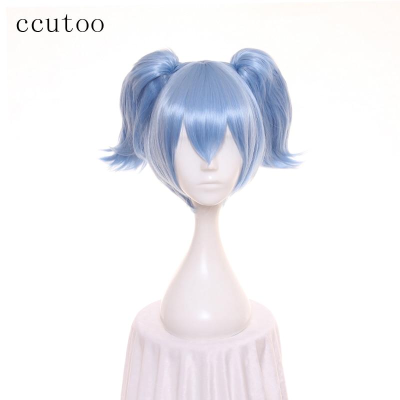 """cocoș 12 """"clasă de asasinat Shiota Nagisa Cosplay perucă Albastru scurt sintetic de păr cu coada Doueble Chip"""