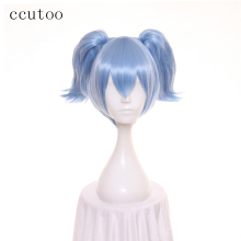 "ccutoo 12"" Assassination Classroom Shiota Nagisa Cosplay Wig Blue Short Synthetic Hair With Doueble Chip Ponytail"