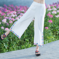 JMJNT V White Cotton Linen Pant 2017 Summer Casual Pocket Elastic Waist Black Embroidered Wide Leg