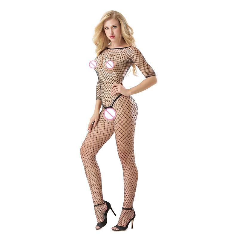 Buy Female porn fishnet sexy underwear Erotic costumes Hollow Open Crotch lingerie bodystockings Women Sex product Teddies W7016