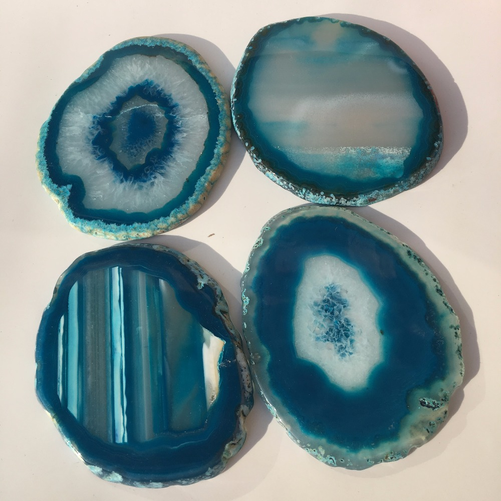 5 Colors Agate Slices Crystals Geode Stones Home Decoration Coaster 6-8cm