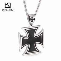 Kalen Fashion Cross Pendant Necklace High Polished Stainless Steel Black Cross Shaped Pendant Necklace Male Wholesale Jewelry