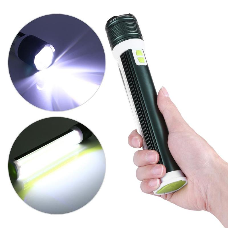 USB Rechargeable Power Bank COB LED Flashlight Waterproof T6 Working Light Emergency Lighting 2 in 1 Spotlight Floodlight
