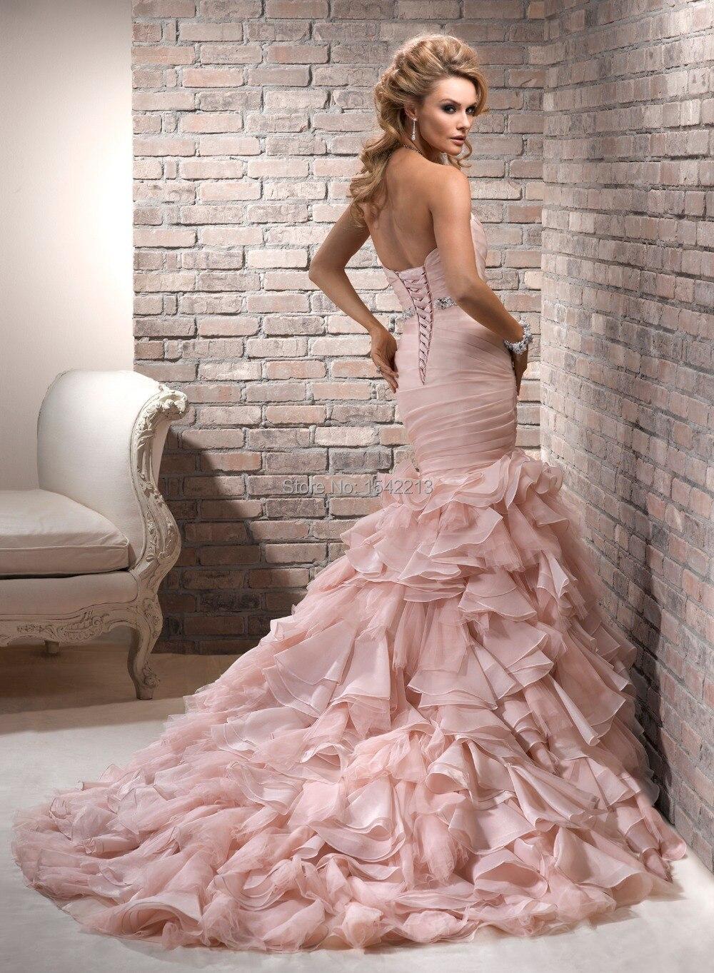 Venta caliente de Color Rosa Sirena Vestidos de Novia Corset Lace Up ...