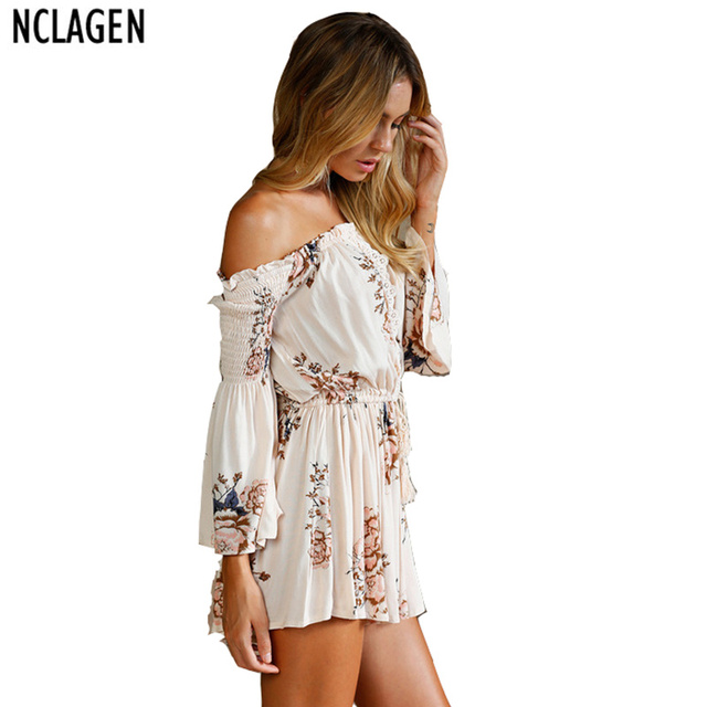 1e9f30fa5c4 NCLAGEN Women Sexy Casual Holiday Playsuit Regular Fit Flower Print  Bodysuit Slash Neck Off Shoulder Ruffle Applique Lace Romper-in Rompers  from ...