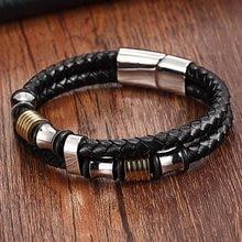 XQNI Echtem Leder Armband Doppel Schicht mit 316L Edelstahl Spezielle Design 6MM Zubehör Armreif & Armband Für Frauen