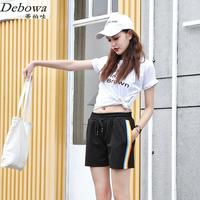 Debowa 2017 New Casual Shorts Women 3xl Plus Size Summer Black Shorts Elastic Waist Bodycon Straight