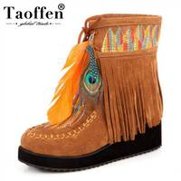 TAOFFEN 2018 New Women Ankle Boots In Plus Size 31 46 Wedges Mixed Colors Covers Platform Shoes Winter Charming Boots For Women