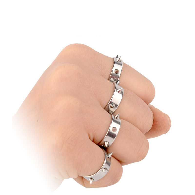 Reinforced type protection ring titanium stainless steel for women with piercing defensive weapon defense supplies