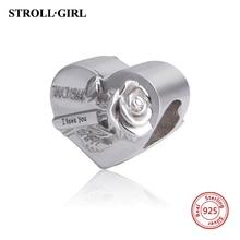 цена на Strollgirl charms 925 sterling silver I love you beads fit original Pandora bracelet Pandora diy jewelry making for lover gift