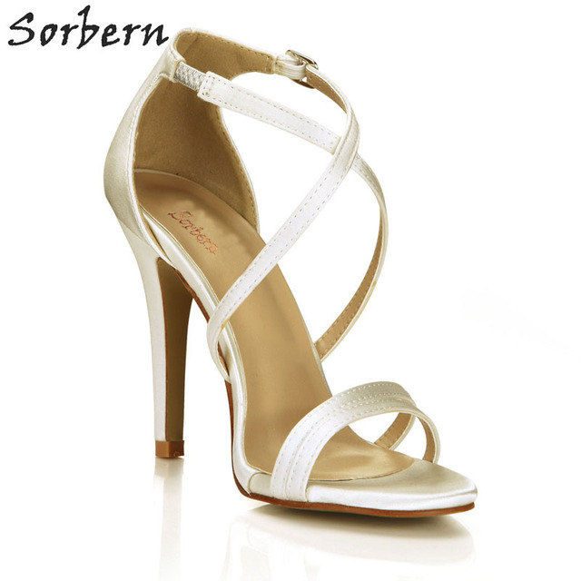 Sorbern Ivory Silk Strap Heels Stilettos Thin Straps Design Bridal Shoes Custom Color Sandals Cute Wedding