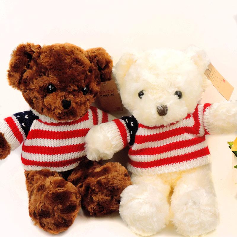 e5fa1a18ec34 35cm Cute Fluffy Teddy Bears Plush Stuffed Animals Soft Toys for Children  Girls Kids Gifts Teddy Bear Wearing Stripe Sweater-in Stuffed & Plush  Animals from ...