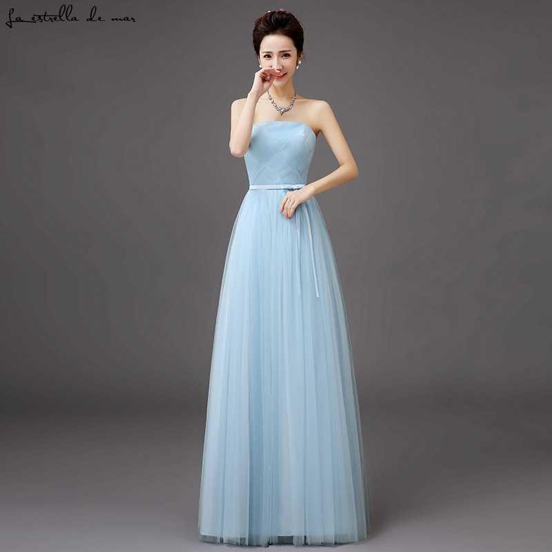 ... Vestido madrinha 2018 new Tulle Strapless champagne silver grey sky blue  blush light purple bridesmaid dresses ... 8b204ad3ce5a