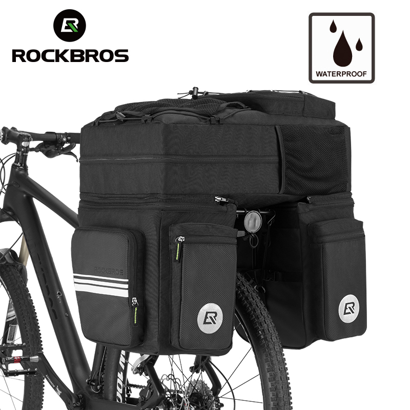 ROCKBROS 48L Bicycle Bike Rack Bag 3 in 1 Multifunction Road MTB Bicycle Bag Cycling Pannier Rear Seat Trunk Bag With Rain Cover coolchange bicycle bag reflective bike bicycle rear seat trunk bag cycling carrier bag rack panniers waterproof with rain cover