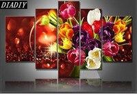 5pcs Diamond Painting Flowers Tulips Cross Stitch Multi Picture 5D DIY Diamond Embroidery Full Round Rhinestones