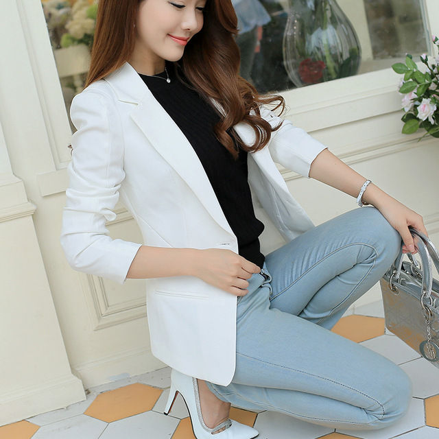 New Arrival Women Blazers And Jackets 2017 Spring Autumn Fashion Single Button Blazer Femenino White/Blue Ladies Blazer Female