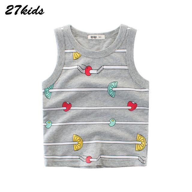 25aa69f12 27kids 2 9Years Cartoon Baby Kids Vest Summer Cotton Toddler Child ...