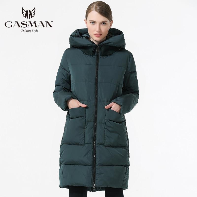 GASMAN 2018 de mujer de moda ropa de invierno Parka con capucha chaqueta de longitud media Casual de invierno engrosamiento abrigo Plus tamaño 5XL 6XL