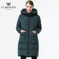 GASMAN 2019 Fashion Woman Winter Clothes Parka Hooded Down Jacket Medium Length Casual Winter Thickening Coat Plus Size 5XL 6XL