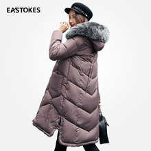 Зимняя куртка Для женщин длинные пальто с большой меховой воротник новый Дизайн карман Мужские парки дамы Для женщин верхняя одежда женские наряды