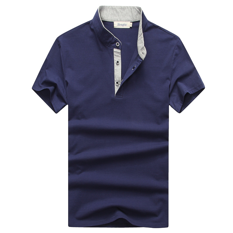 2019 Men's Summer Cotton Solid Color Blank Short Sleeve   Polo   Shirt Breathable V-neck Bottoming Shirts Casual   Polo   Homme