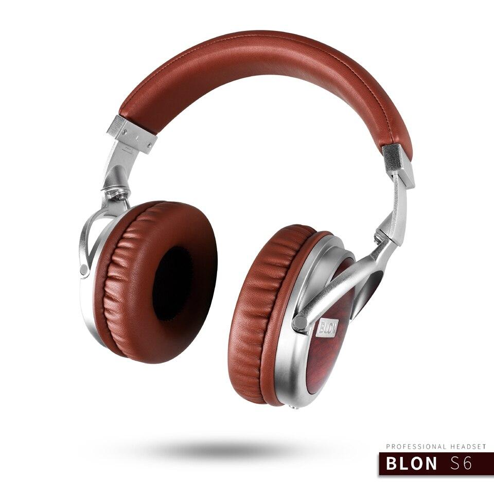Blon S6 Wooden Stereo Dynamic 50mm Metal DJ Super Bass HIFI Headset Headphone Audio Earphone Over Ear Auriculares Earphone