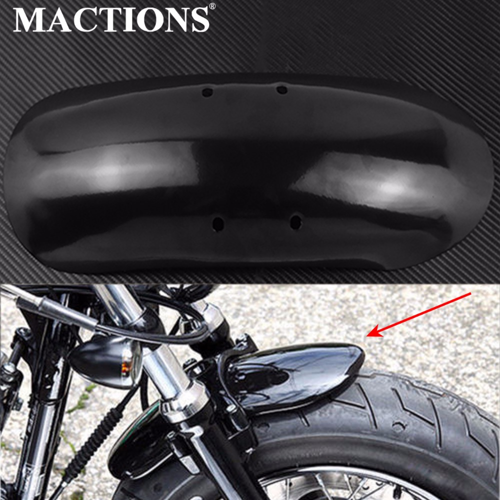 Short Front Mudguard Fender For Harley Sportsters Iron XL 883 1200 N R L Black