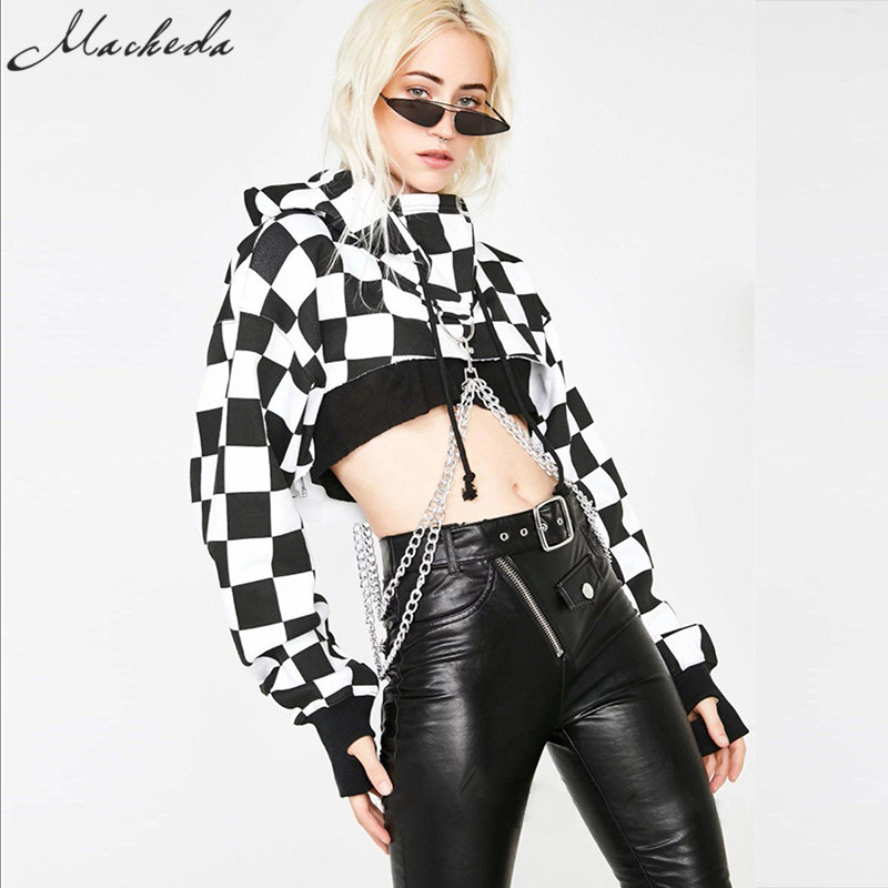 Macheda Women Hoodies Casual Sweatshirt Black White Lattice Autumn Women's Cropped Top Individuality Chain Ornament Fashion Tops