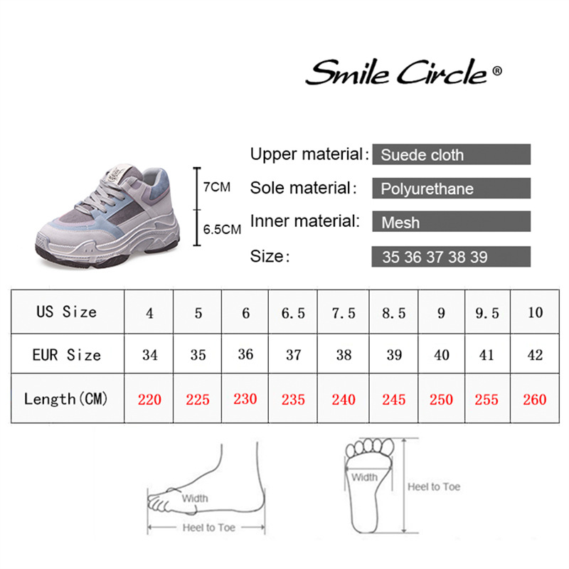 Smile Circle 2019 spring new Women Sneakers Breathable Shoes Flat Cozy Lace Up Platform shoes girl Thick bottom Ladies shoes-in Women's Vulcanize Shoes from Shoes    2