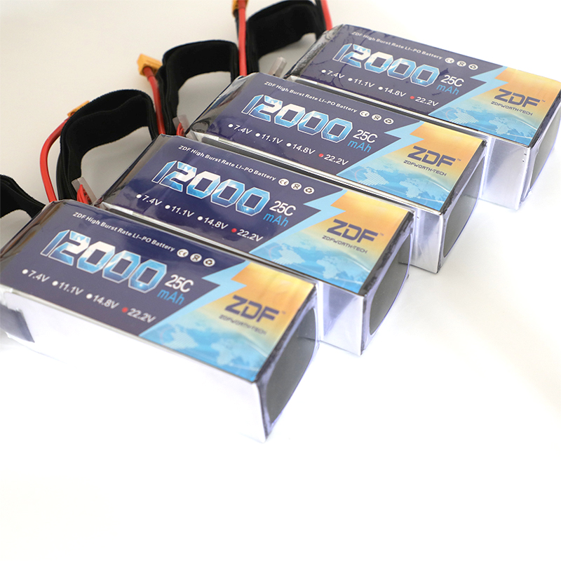 4pcs/lot ZDF Good Quality Lipo Battery 22.2V 6S 12000MAH 25C-50C RC AKKU Bateria for Airplane Helicopter Boat FPV Drone UAV zdf lipo battery 22 2v 26000mah 6s 25c lipo battery as150 plug batteries for quadcopter uav rc helicopter drone