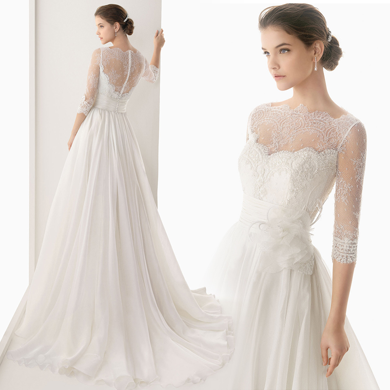 Wedding Dress 2017 Vestido De Noiva A Line Long Floor Length Zipper ...