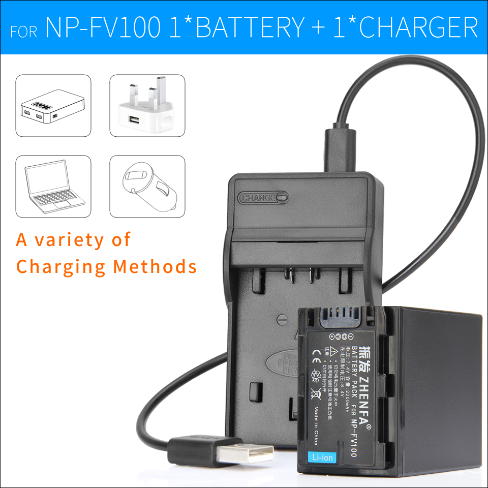 NP-FV100 NP FV100 Battery+Charger for Sony Camera NP-FV30 NP-FV50 NP-FV70 DCR-DVD103 XR100 HDR-XR550/E HDR-XR350/E HDR-XR150/E