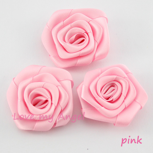 Free Shipping Pink Satin Ribbon Rose Flower Handmade Rolled Rosettes
