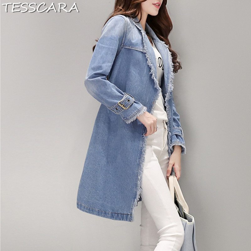 TESSCARA Autumn Spring Women Long Denim Trench Casual 100 Cotton Jeans Coat Female Overcoat Windbreakers Outerwear