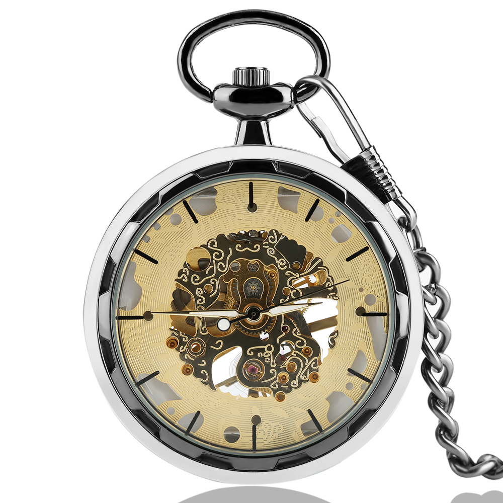 Luxury Mechanical Pocket Watches Gold Skeleton Hand Wind Fob Watch Antique Pendant With Chain Men Women Top Gift Item new black skeleton five star luxury hot stylish retro cool crown pattern hand wind mechanical pocket watch supernatural gift