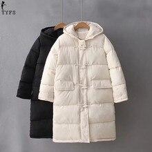 YYFS Winter Jacket Women Hooded Warm Coats Long Jackets 2017 Winter Causal Wadded Horn button Parkas Korean Padded-Cotton Coats