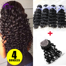 Virgin Peruvian Hair Deep Wave 4 Bundles with Lace Closure Hair Weaves Unprocessed Human Hair Extensions